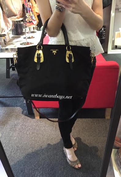 orange prada bag - Prada BN1902 Tessuto Nylon Top Handle Bag- Black