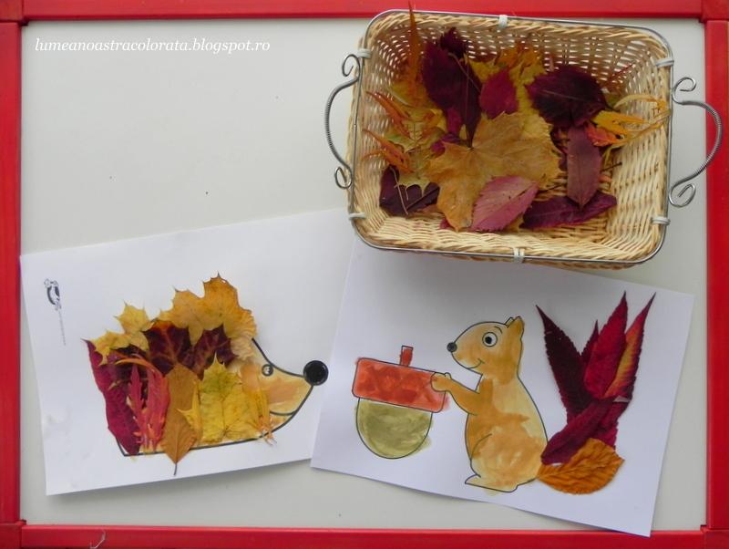 Arici și veveriță cu frunze de toamnă