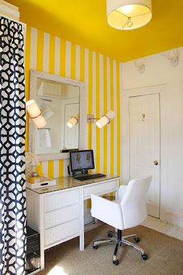 papel de parede de listras verticais amarelo e branco