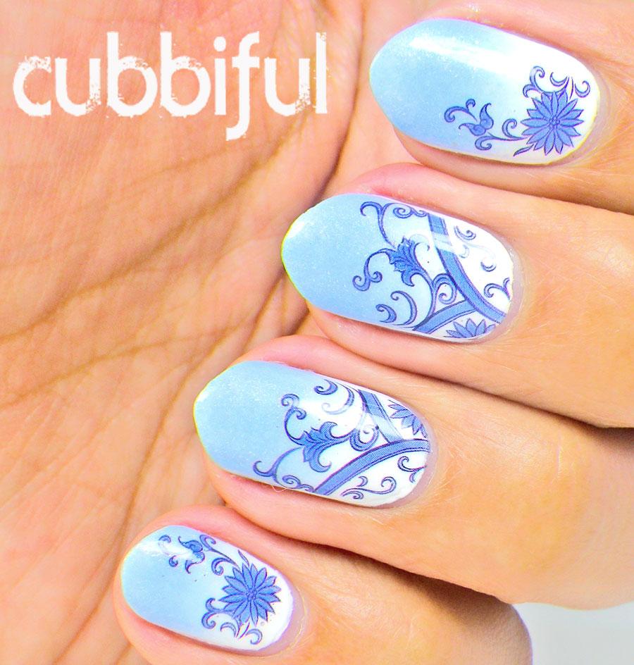 Gradient Nail Art: Cubbiful: Azulejo Gradient Nail Art