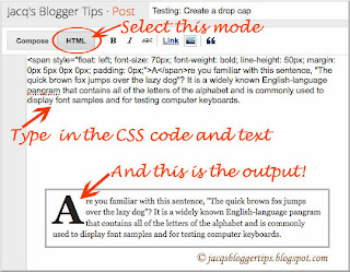 Screenshot of Blogger's Post Editor - showing how-to add a drop cap