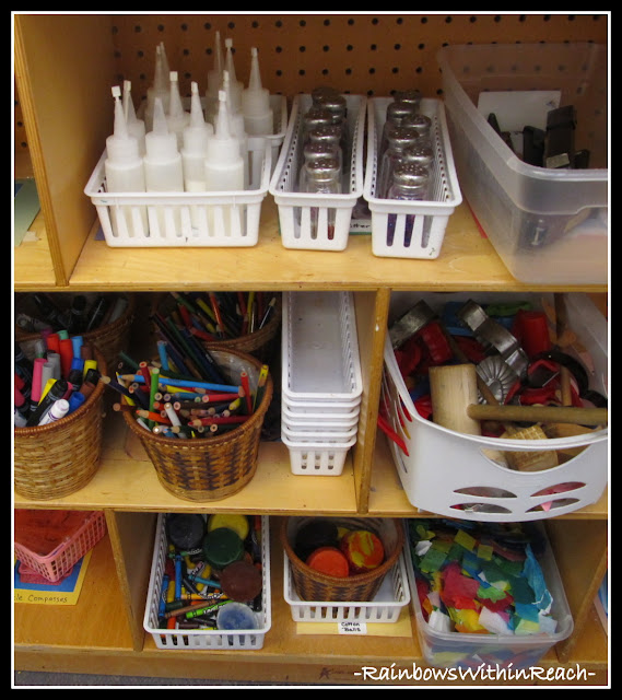 photo of: Classroom Art Supplies on Shelves