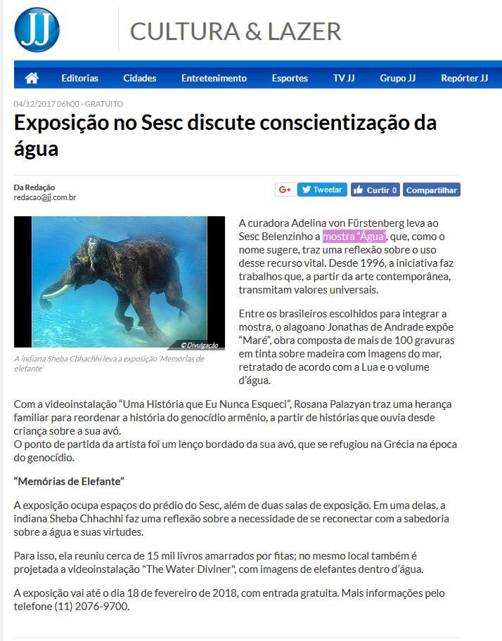 Exposição ÁGUA | SESC BELENZINHO O ESTADO DE SÃO PAULO |