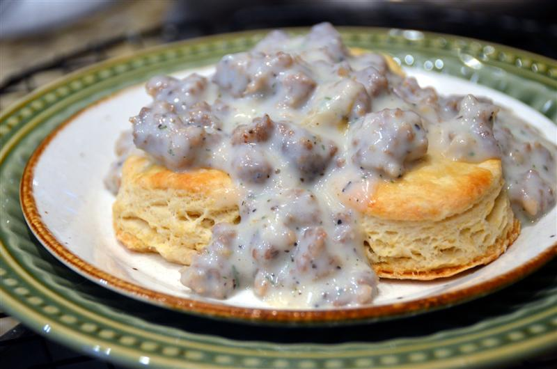 Buttermilk Biscuits and Sausage Gravy - ButterYum