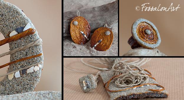 Collage di oggetti realizzati a mano in corda, sabbia e frammneti di conchiglie