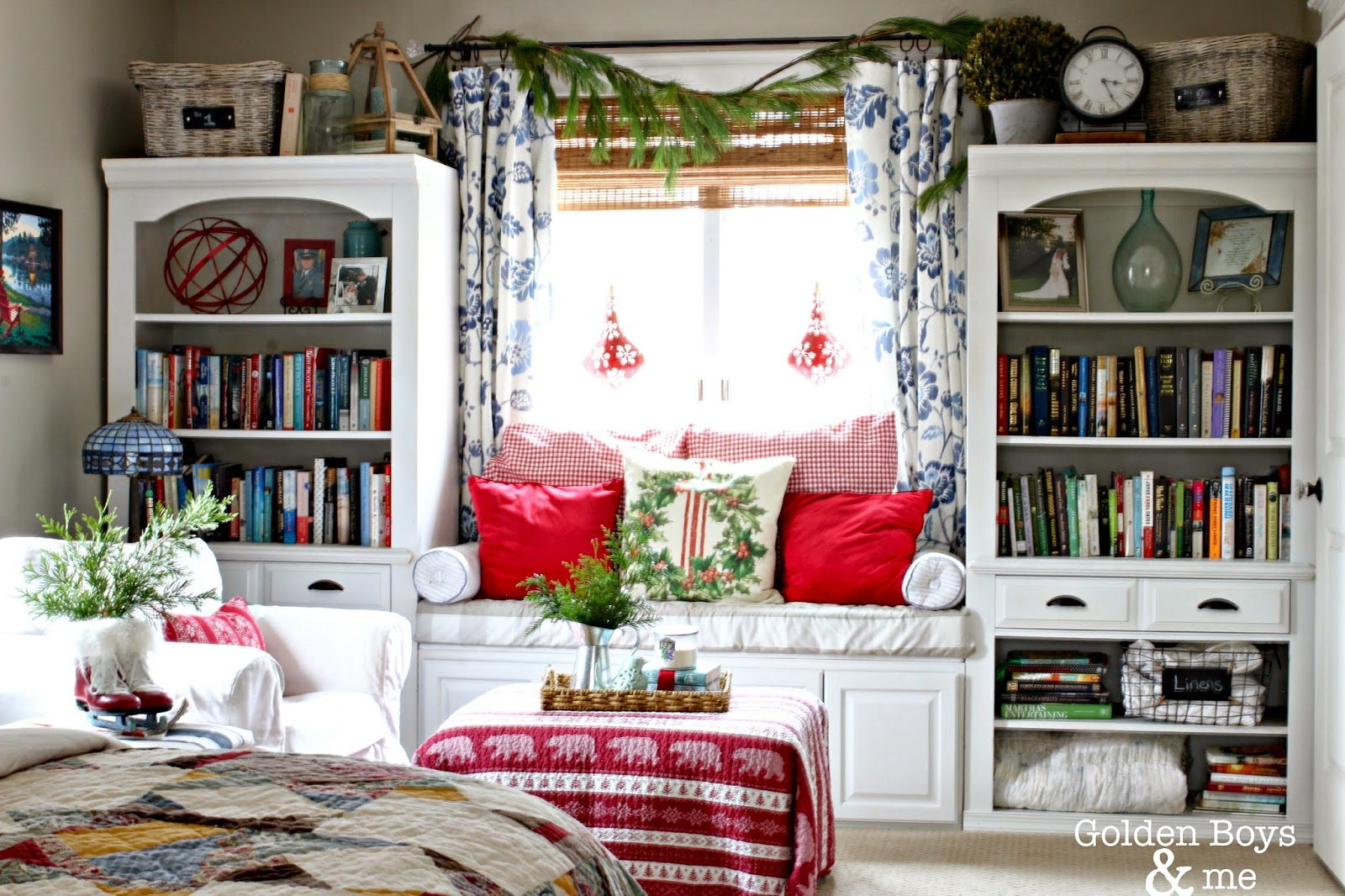 Window seat in master bedroom with Christmas decor-www.goldenboysandme.com