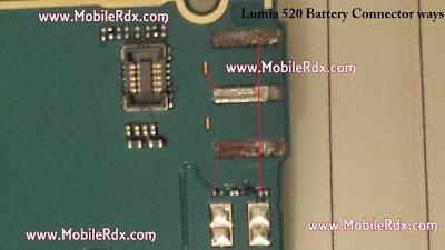 Nokia Lumia 520 Battery Track Ways