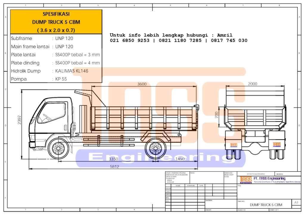 Karoseri Dump Truck Kapasitas 5kubik