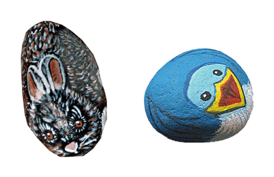 critters, bird, rabbit, painted rocks, rock painting
