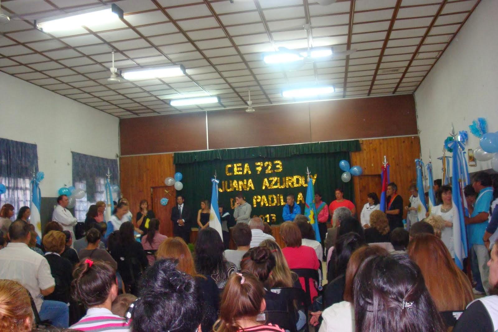 """ACTO DE IMPOSICION DEL NOMBRE """"JUANA AZURDUY de PADILLA"""" al CEA 723  L de Zamora(08-11-2013)"""
