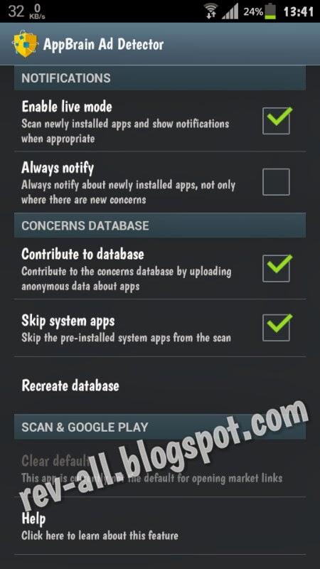 Pengaturan - aplikasi AppBrain Ad Detector - aplikasi untuk mendeteksi jenis iklan (anti adware) pada android (rev-all.blogspot.com)