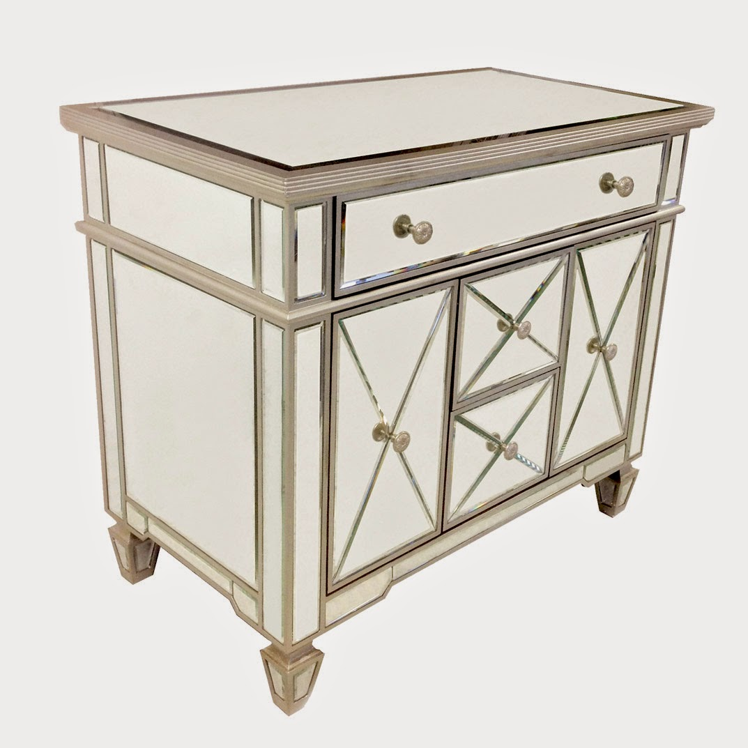 Mirrored Nightstands White Color