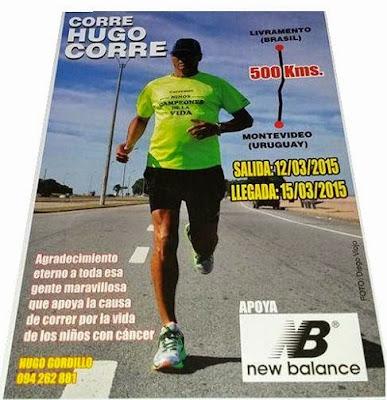 Hugo Gordillo emprende ultramaratón de 500k entre Montevideo y Livramento (12a15/mar/2015)