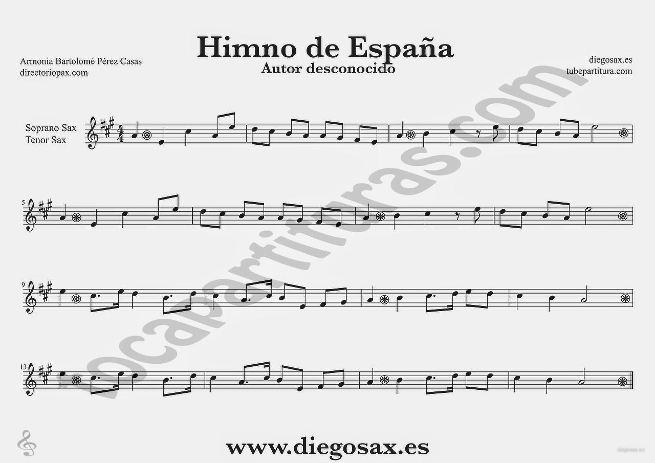 Tubepartitura Himno Nacional de España Partitura de Saxofon Tenor y Saxofón Soprano Himnos del Mundo