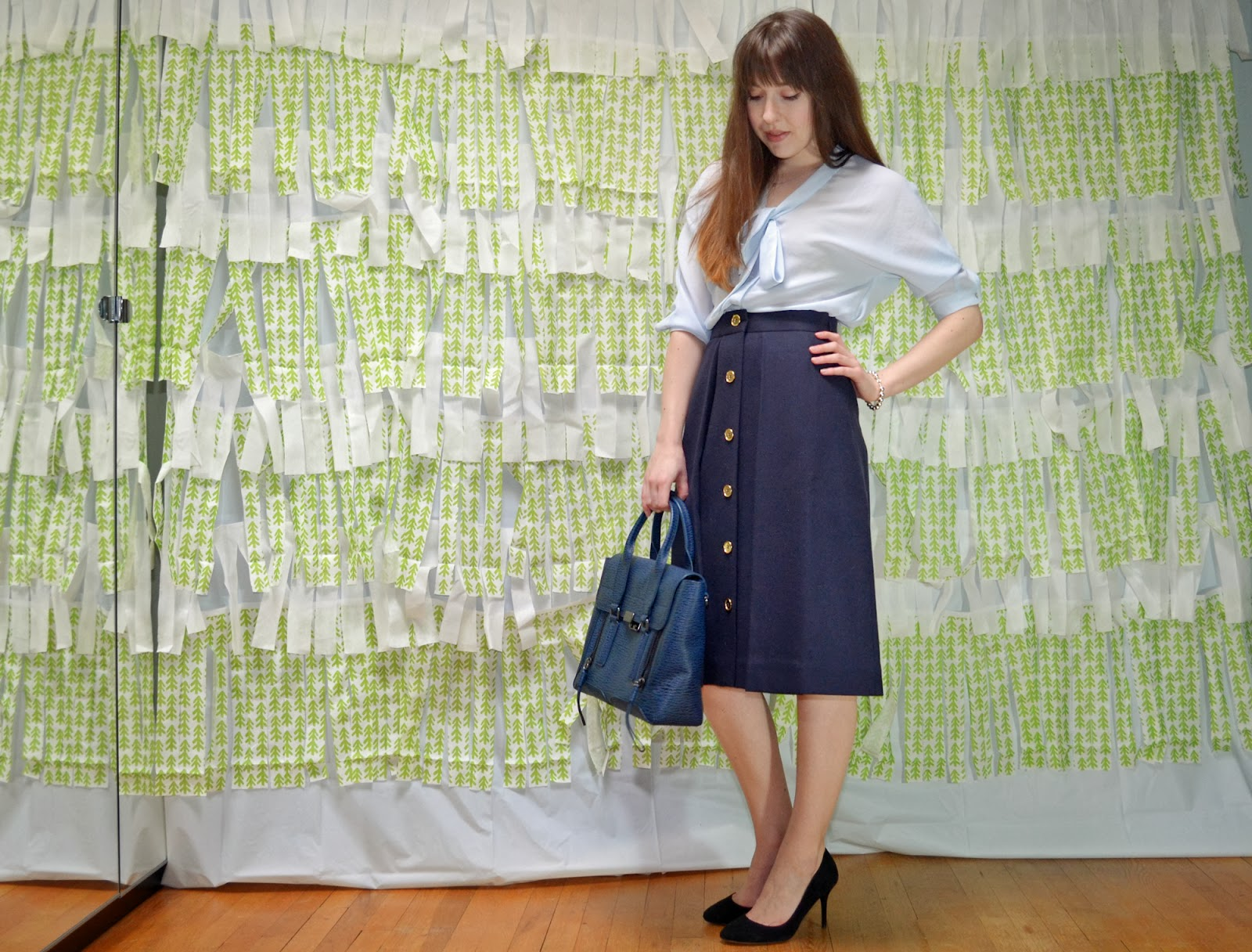 OOTD midi skirt Façonnable Zara outfit pashli phillip lim fashionista