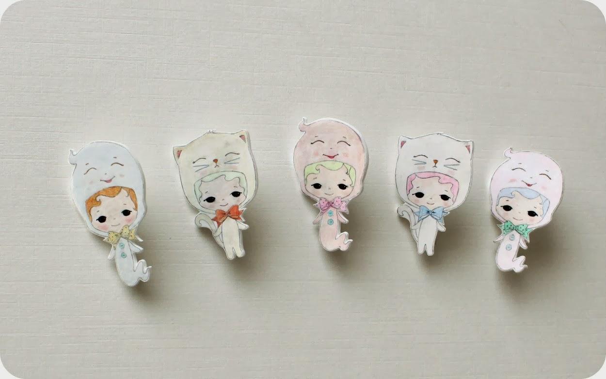 Gingermelon dolls halloween ghost and kitty shrink for Schrank plastik