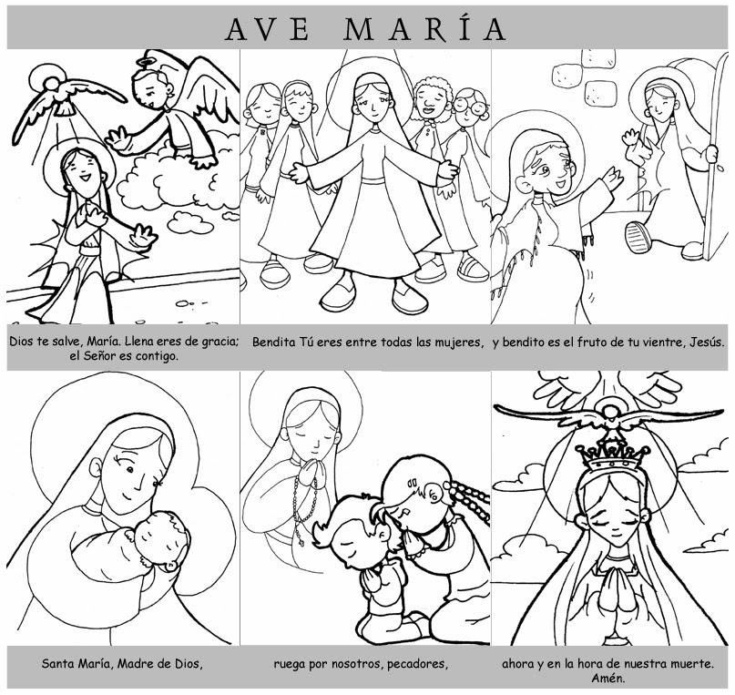 La Santidad como tarea.: EL AVE MARÍA PARA IMPRIMIR Y COLOREAR