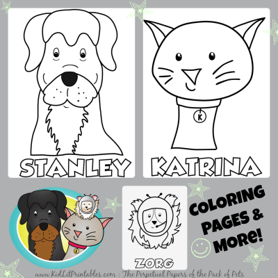 Stanley & Katrina Activity Book, Dog coloring page, cat coloring page, guinea pig coloring page
