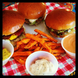 Shimmy Shack Vegan Sliders, sweet potato fries, and sauces