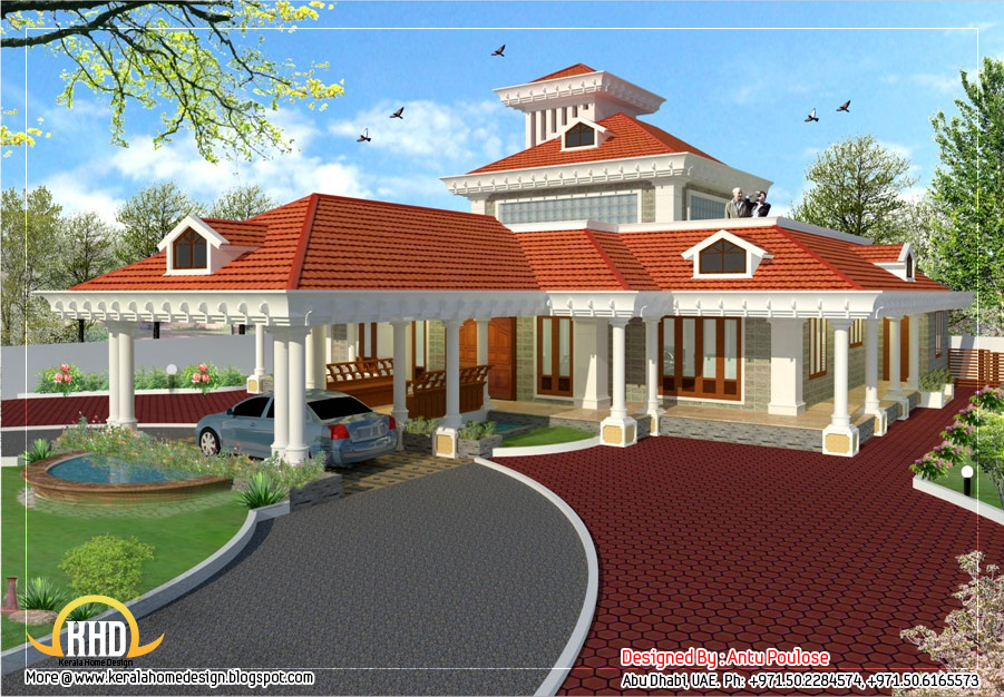 Kerala style traditional house 3350 sq ft home appliance for Traditional house plans in india