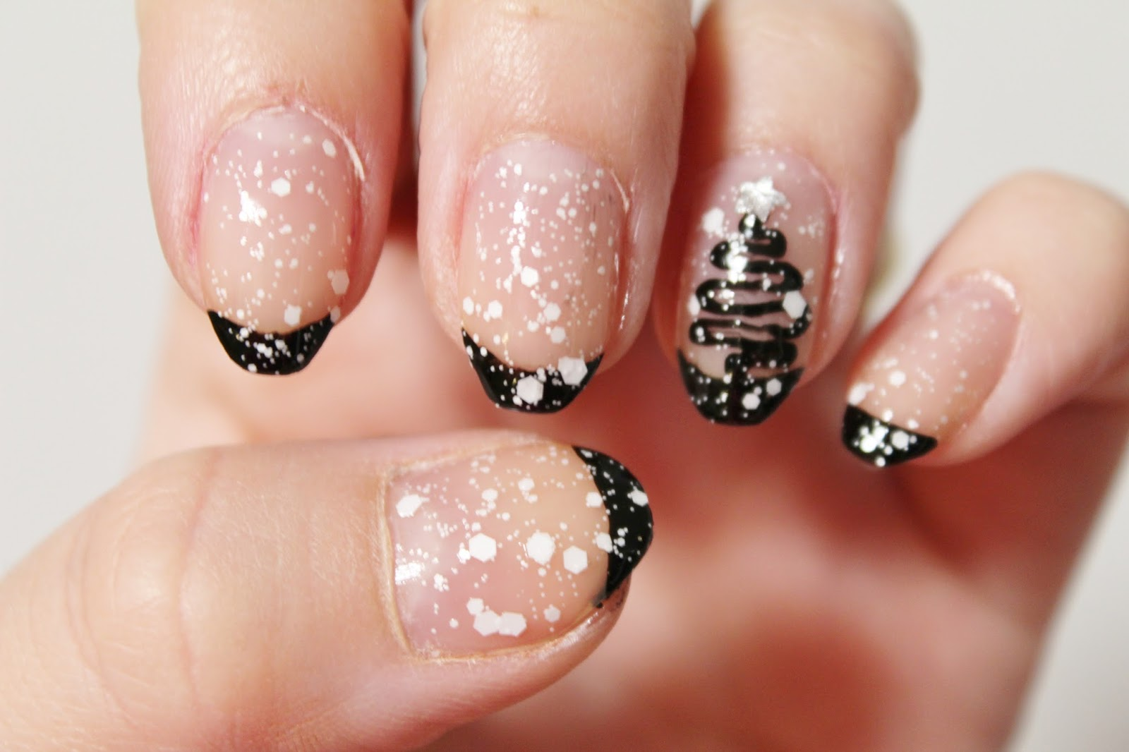 today i have two manis up but both of them are starting my christmas spirit for this mani its more of a simple one since ive been on a simple mani - White Christmas Nails