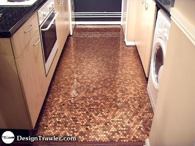 Penny tiled kitchen floor