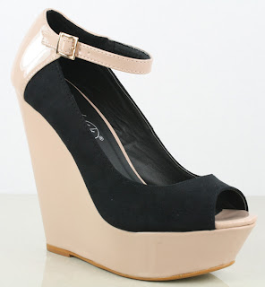 High heel wedge shoes in black and nude