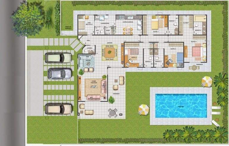 Piscinas lindas y modernas en fotos plano de casa con piscina for Plano alberca