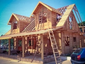 esqueleto de casa de madeira