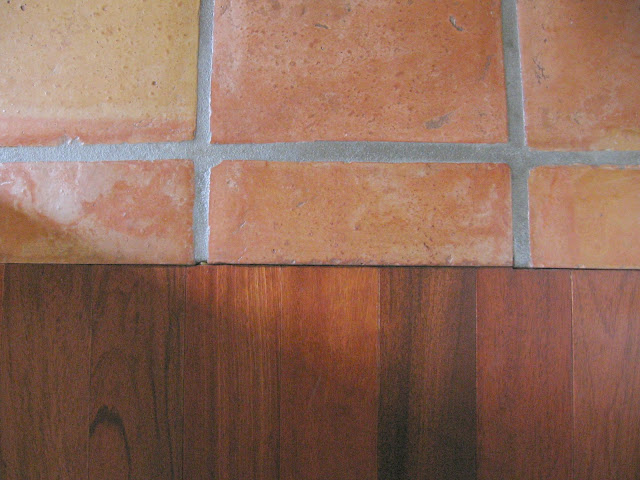Brazilian hardwood floor and saltillo tile