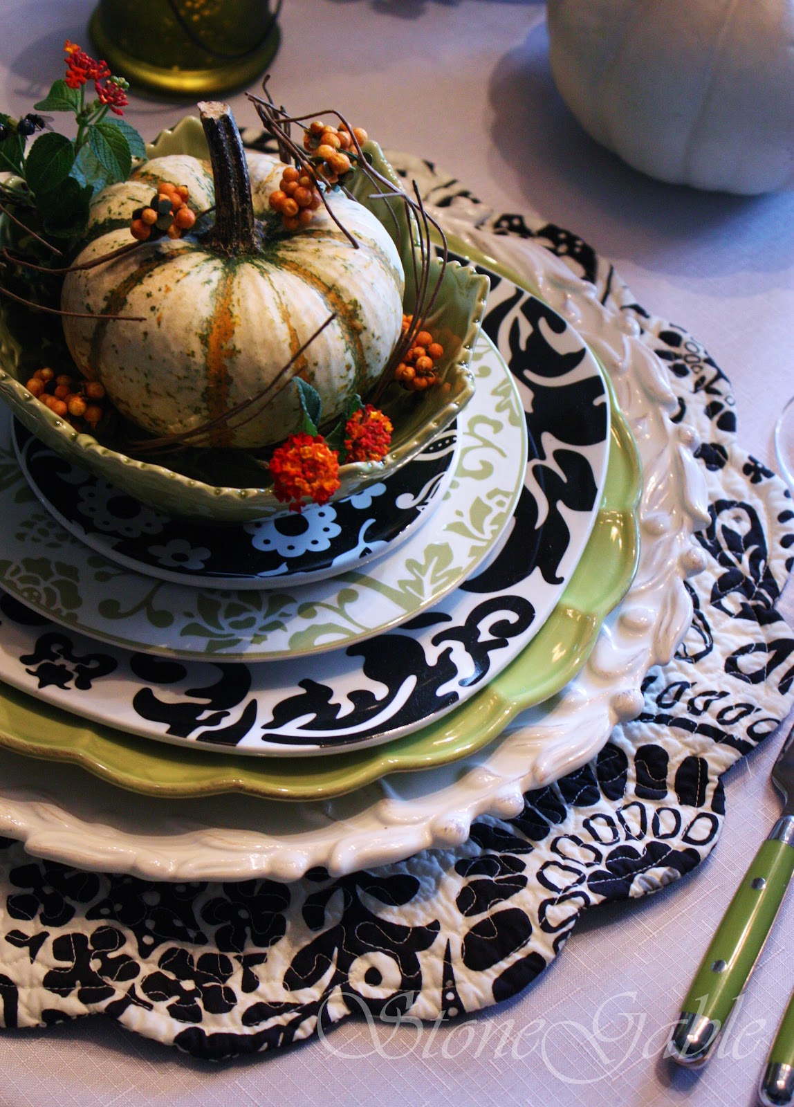 southern style home decor giveaway black and white and a touch of fall tablescape