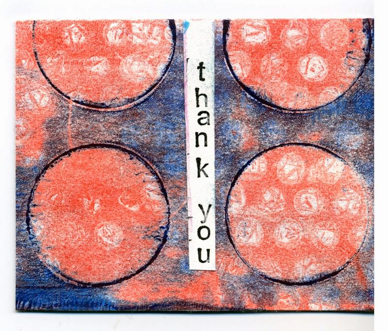 Gelli print thank you card
