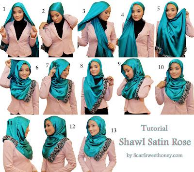 Cara Memakai Shawl Satin Rose Style 2