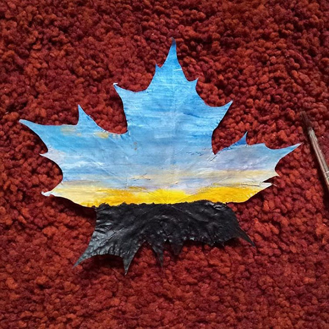 painting on maple leaves