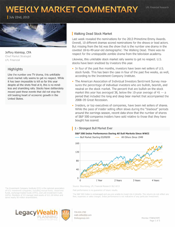 The LPL Financial Weekly Market Commentary from Legacy Wealth Planning – July 22, 2013