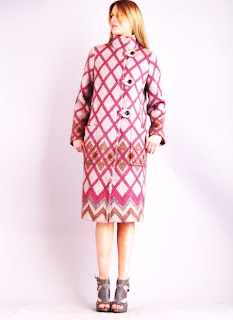 Vintage 1990's pink mohair Missoni peacoat with large criss-cross print and front patch pockets.