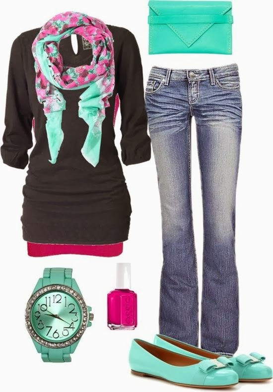 Blue and pink scarf, black blouse, blue purse, jeans and blue sandals for fall