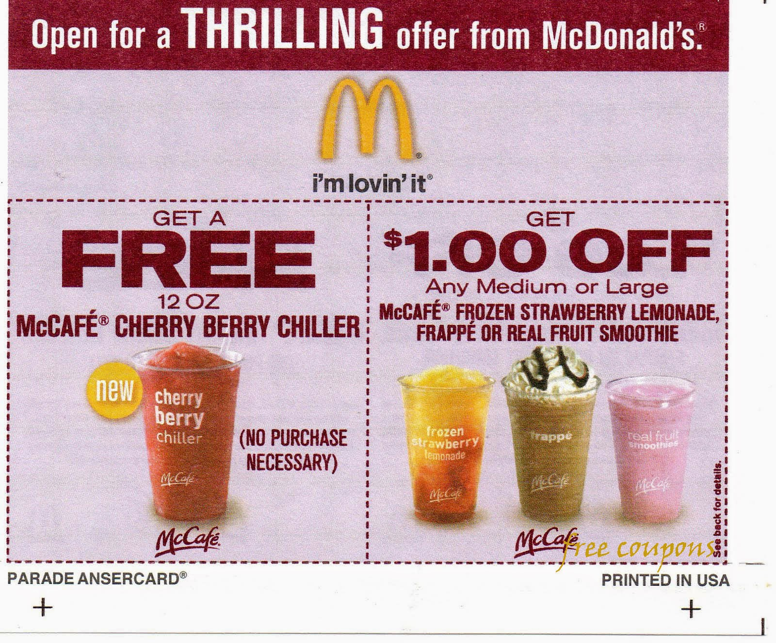 Mcdonald discount coupons