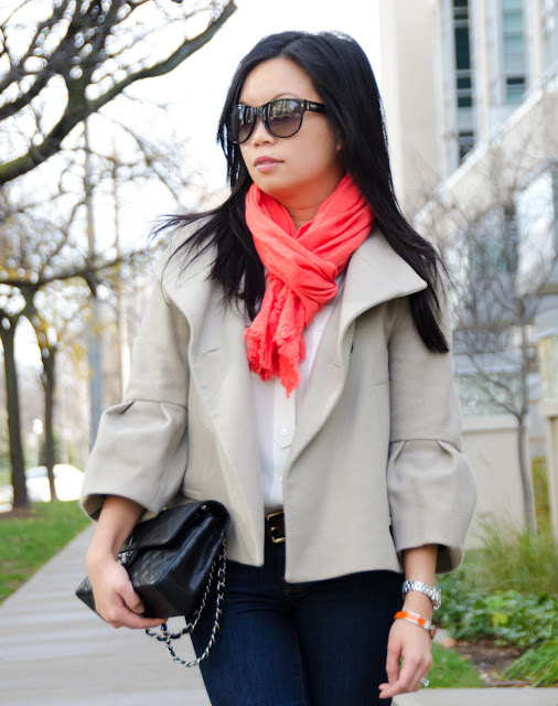 wearing orange, Chanel classic flap, Zara, Fall Fashion, J.Crew