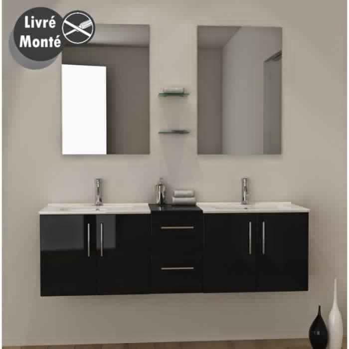 Meuble salle de bain noir meuble d coration maison - Meuble salle de bain laque noir ...