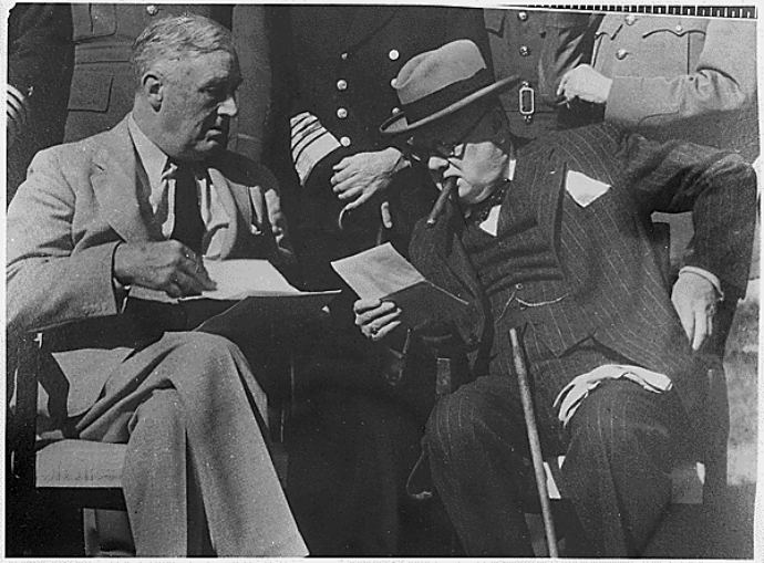 Sir Winston Churchill is pictured with Franklin D Roosevelt in Casablanca in 1943. Photograph courtesy of the Franklin D Roosevelt Library and Museum; version date 2009
