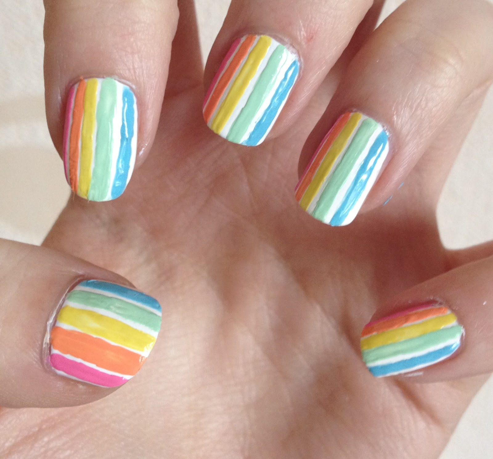 Pastel Stripe Nails