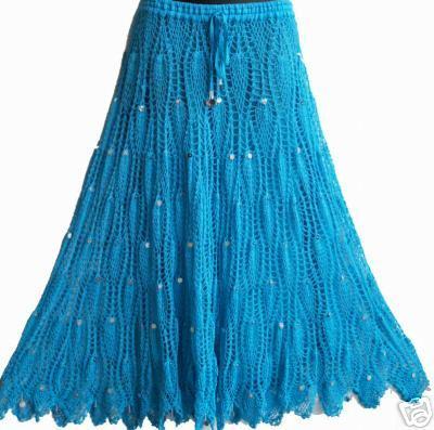 Для вдохновения: длинные юбки крючком.