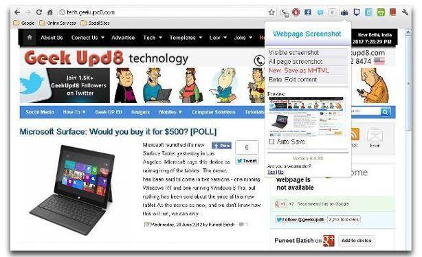google chrome extension Webpage screenshot