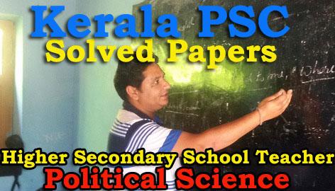 Solved Paper Higher Secondary School Teacher Political Science (14 Dec 2015)
