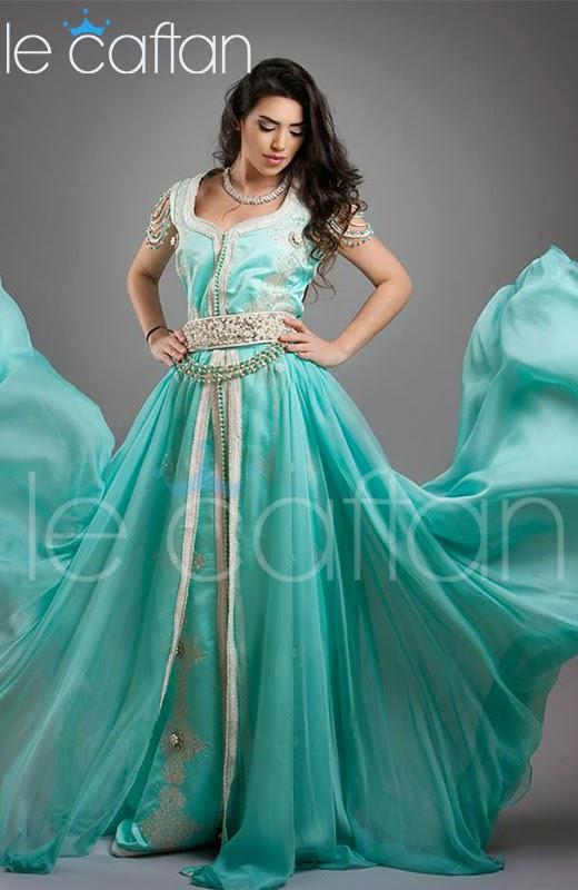 robe caftan marocain haute couture vert d 39 eau 2014 le caftan boutique de vente caftan marocain. Black Bedroom Furniture Sets. Home Design Ideas