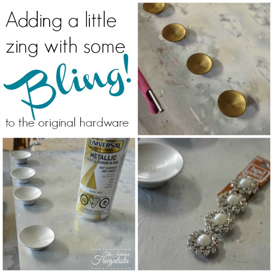 Painting original hardware and adding beads to the center for added bling