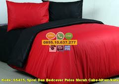 Harga Sprei Dan Bedcover Polos Merah Cabe-hitam/katun Pa Jual