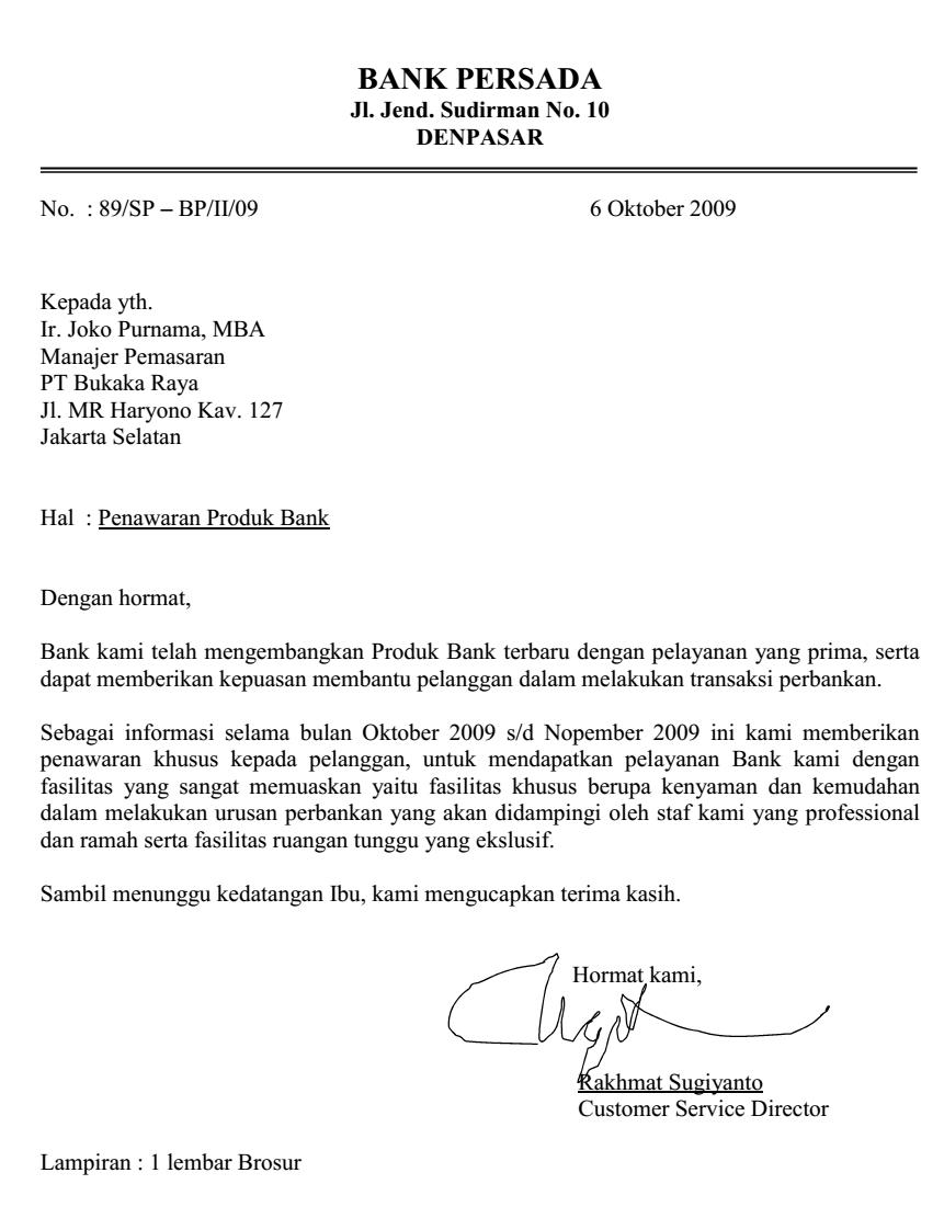 Surat Penawaran Produk Bank