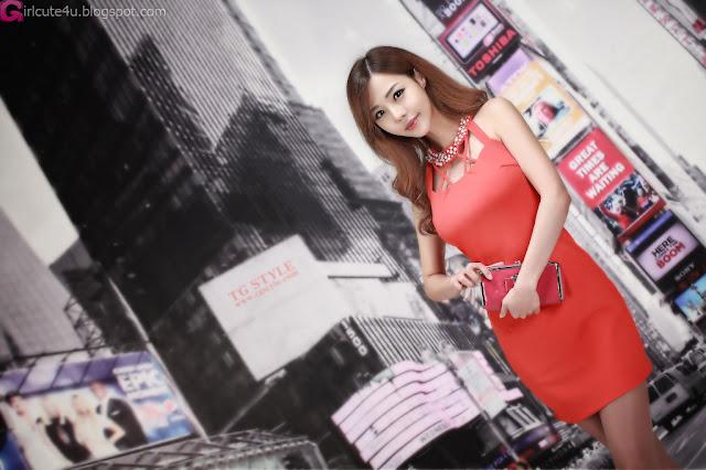 1 Seo Jin Ah in Orange Mini Dress -Very cute asian girl - girlcute4u.blogspot.com
